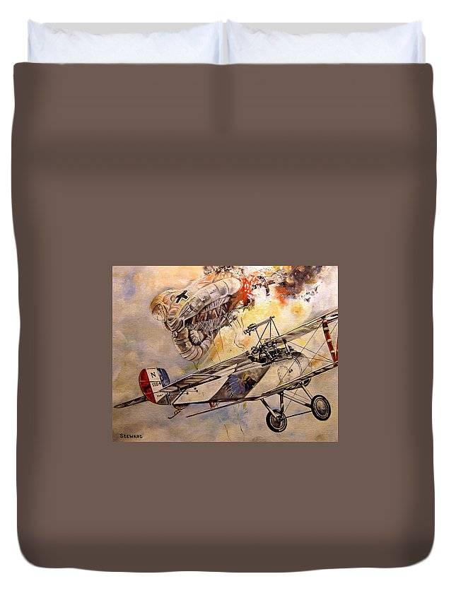 Military Duvet Cover featuring the painting The Balloon Buster by Marc Stewart