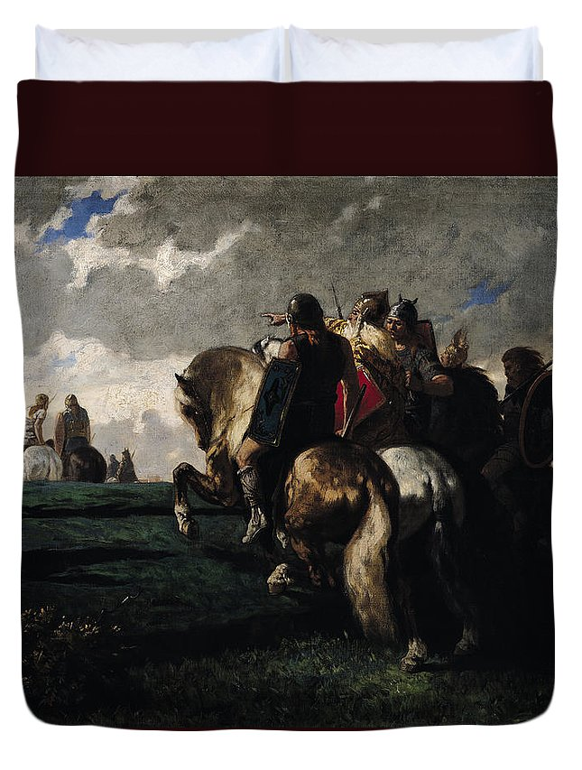 The Duvet Cover featuring the painting The Barbarians Before Rome by Evariste Vital Luminais