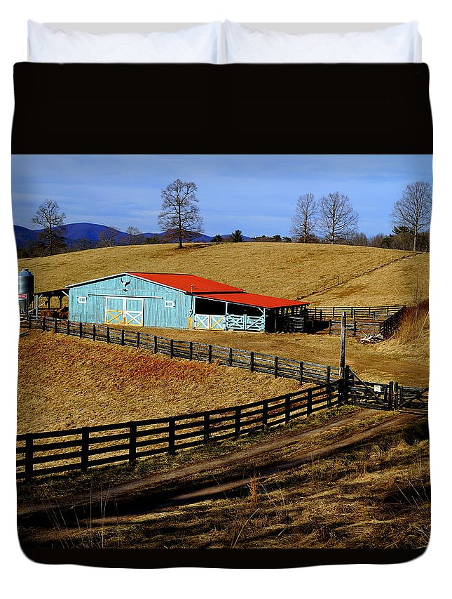 Winter Duvet Cover featuring the photograph The Barn In Winter by John Wall
