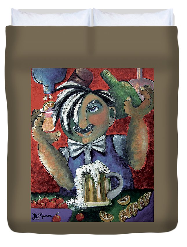 Bartender Duvet Cover featuring the painting The Bartender by Elizabeth Lisy Figueroa