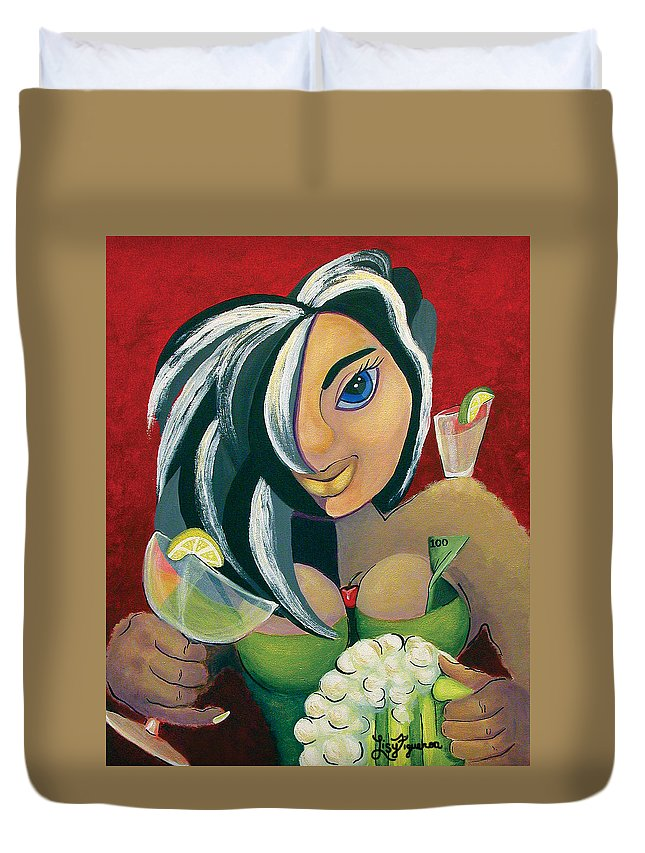 Bar Duvet Cover featuring the painting The Barwaitress by Elizabeth Lisy Figueroa