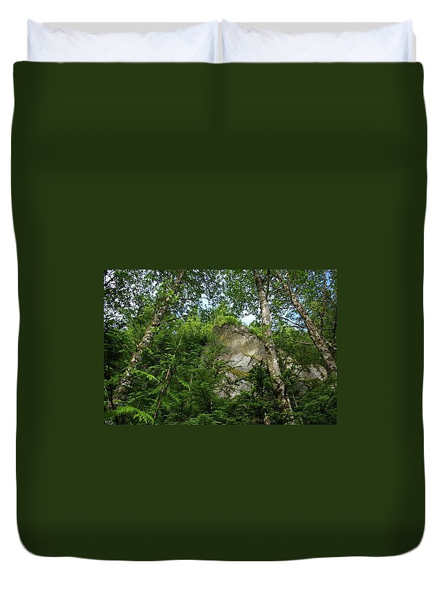 Mountains Duvet Cover featuring the photograph The Base Of Beacon Rock by Jeff Swan