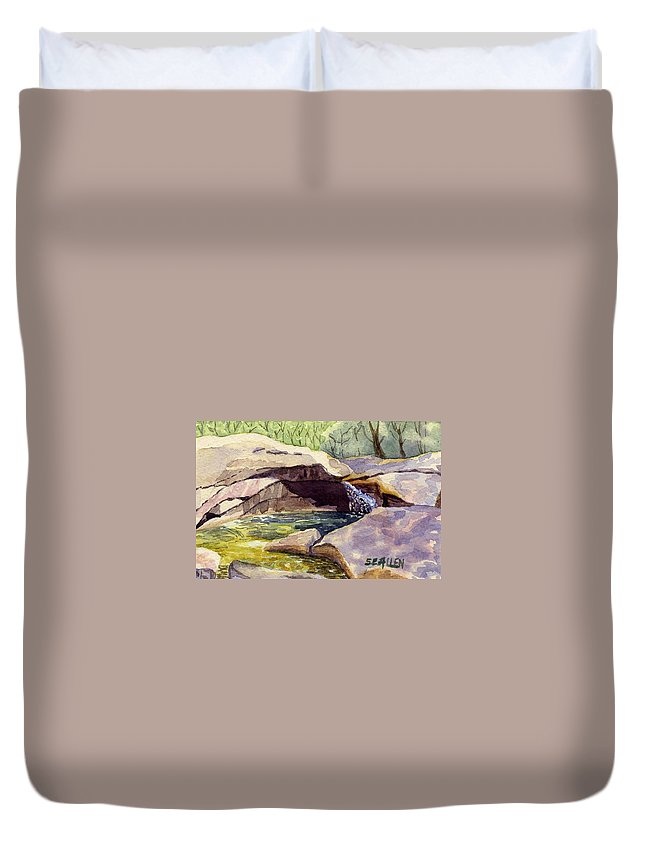 The Basin Duvet Cover featuring the painting The Basin by Sharon E Allen