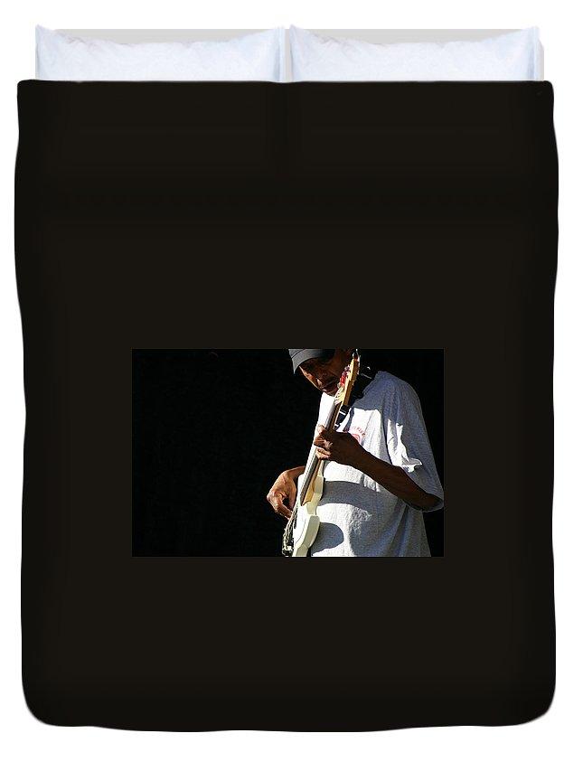 Guitar Duvet Cover featuring the photograph The Bassman by Joe Kozlowski