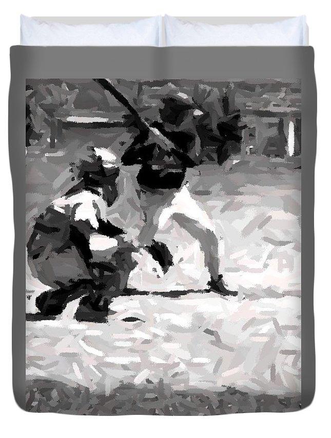 Digital Duvet Cover featuring the digital art The Batter by Maria Watt
