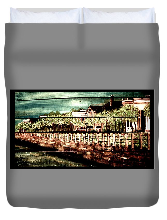 Battery Duvet Cover featuring the painting The Battery by Ashley Galloway