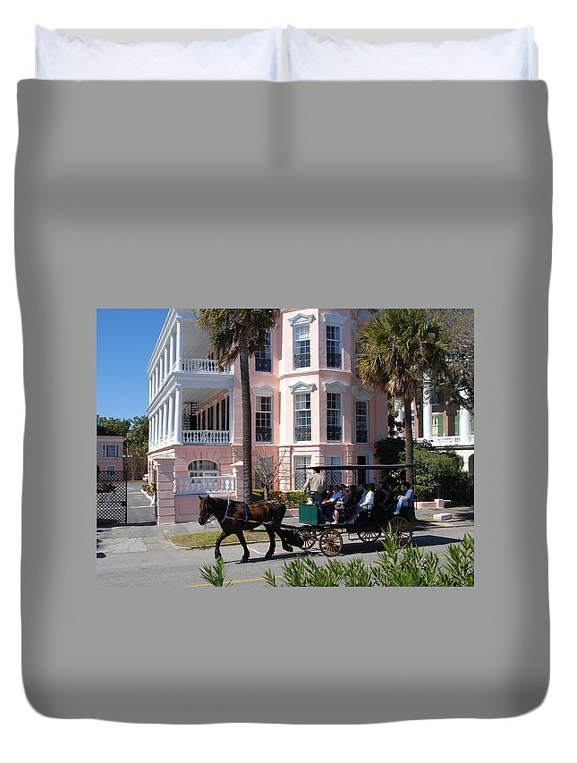 Photography Duvet Cover featuring the photograph The Battery In Charleston by Susanne Van Hulst
