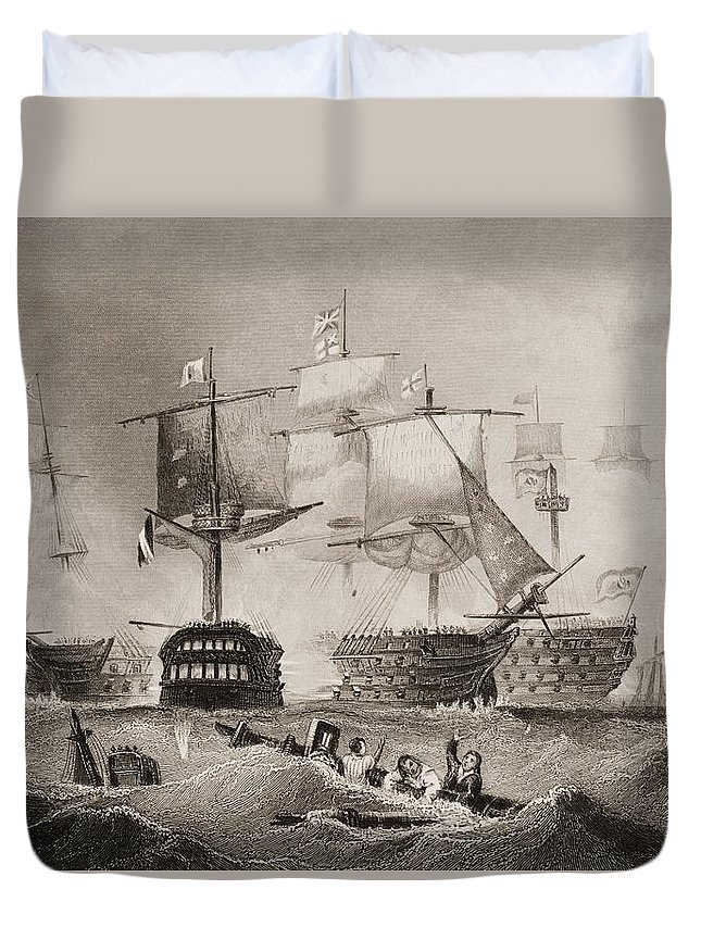 Black And White Duvet Cover featuring the drawing The Battle Of Trafalgar. Engraved By by Vintage Design Pics