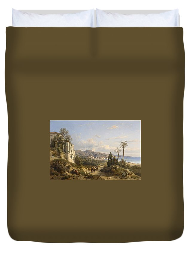 L�on Fleury (1804-1858) Duvet Cover featuring the painting The Bay Of Naple by MotionAge Designs