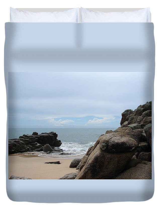 Sand Ocean Clouds Blue Sky Rocks Duvet Cover featuring the photograph The Beach 2 by Luciana Seymour