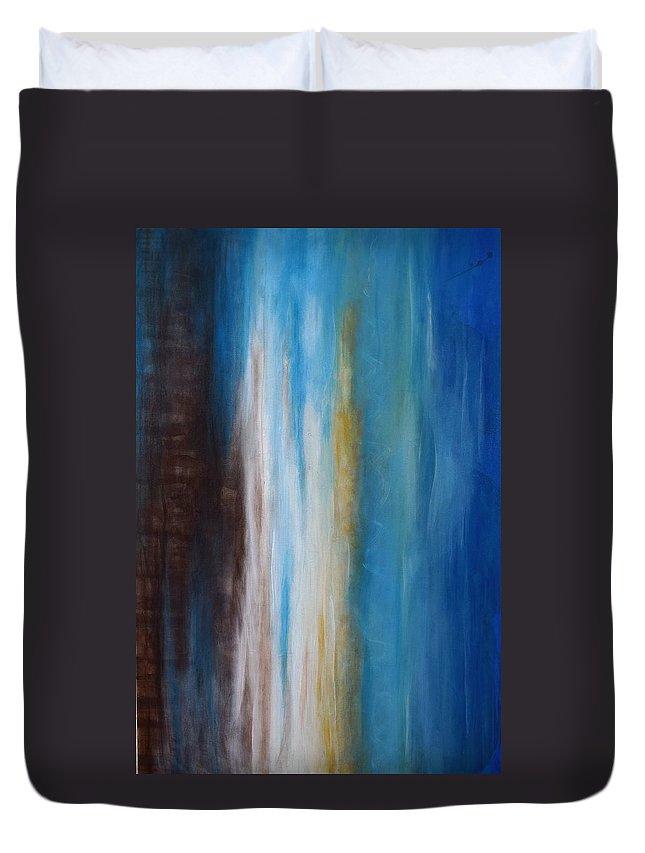 The Beach Duvet Cover featuring the painting The Beach by Adrianna Tarsha - McMillan