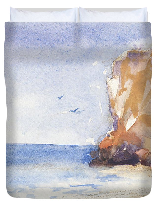 Beach Duvet Cover featuring the painting The Beach by Kristina Vardazaryan