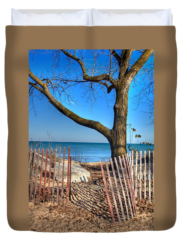 Evanston Duvet Cover featuring the photograph The Beach by Laura Kinker