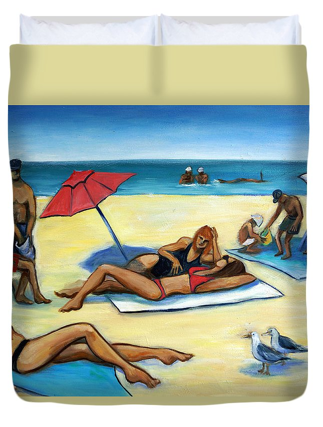 Beach Scene Duvet Cover featuring the painting The Beach by Valerie Vescovi