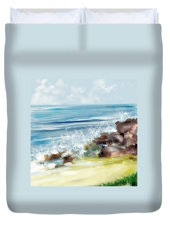 Beach Ocean Water Summer Waves Splash Duvet Cover featuring the digital art The Beach by Veronica Jackson