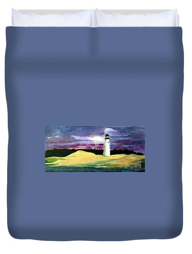 Fine Art Duvet Cover featuring the painting The Beacon by Patricia Griffin Brett