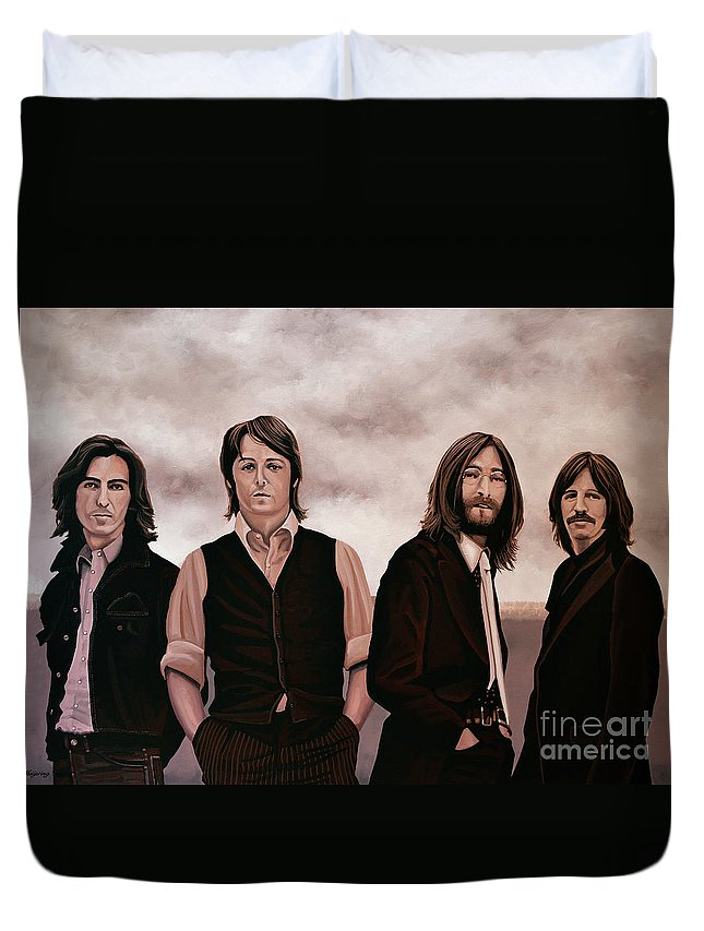 The Beatles Duvet Cover featuring the painting The Beatles 3 by Paul Meijering
