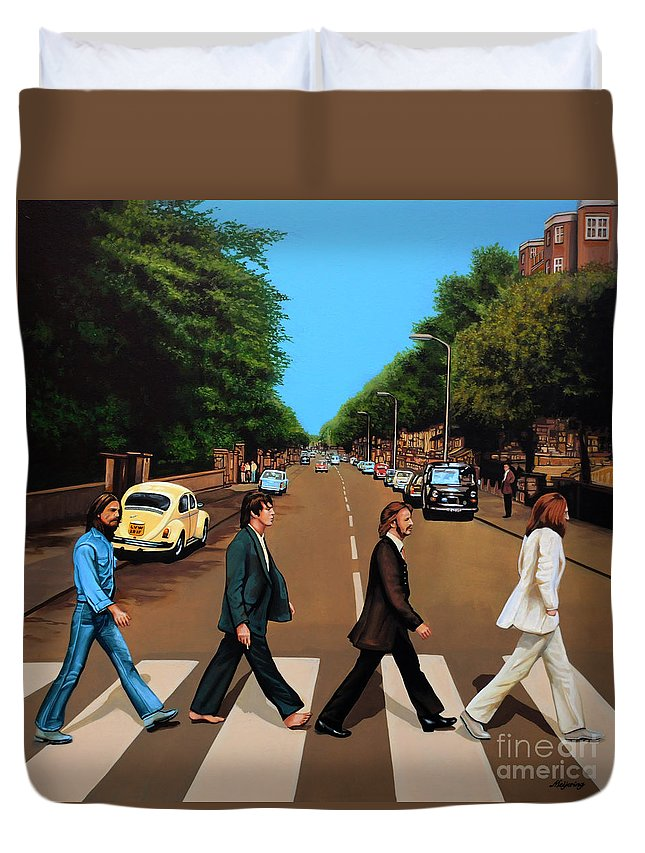 The Beatles Duvet Cover featuring the painting The Beatles Abbey Road by Paul Meijering