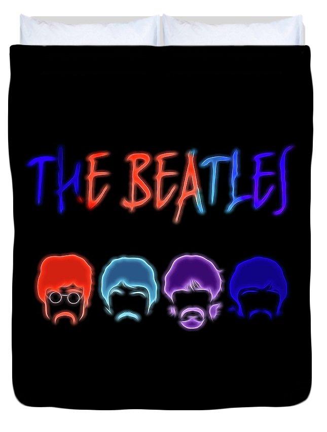 The Beatles Electric Poster Duvet Cover featuring the mixed media The Beatles Electric Poster by Dan Sproul