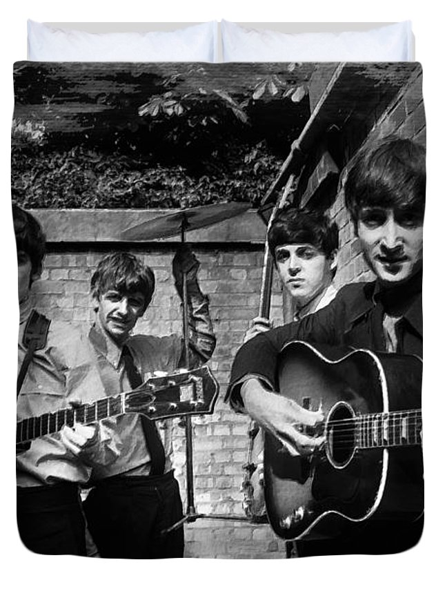 The Beatles Duvet Cover featuring the painting The Beatles In London 1963 Black And White Painting by Tony Rubino