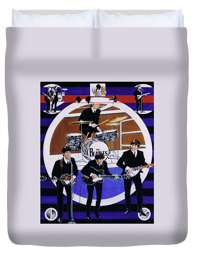 1960s Duvet Cover featuring the drawing The Beatles - Live On The Ed Sullivan Show by Sean Connolly