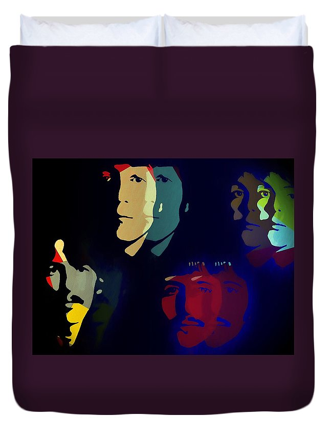 Beatles Pop Art Duvet Cover featuring the mixed media The Beatles Psychedelic by Dan Sproul