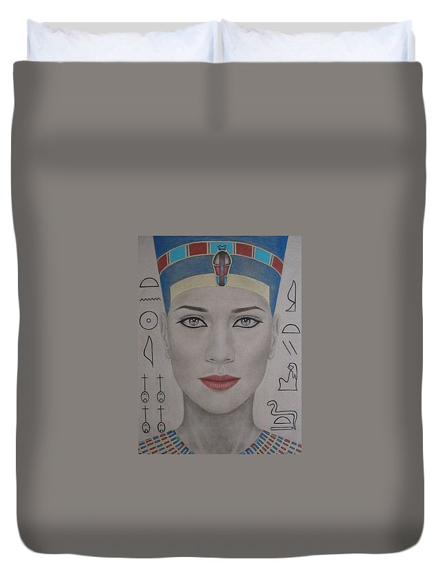 Woman Duvet Cover featuring the painting The Beautiful One Has Come by Lynet McDonald