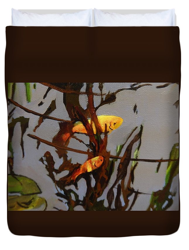 Shimmering Jewels Brilliant Oranges Yellows Goldfish Pond Fishpond Water Glow Peace Peaceful Quiet Comet Swimming Pattern Duvet Cover featuring the painting The Beauty Of Goldfish by Catherine Robertson
