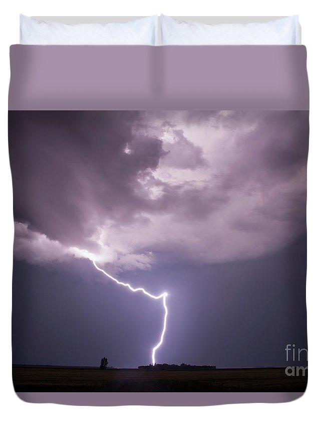 Storm Duvet Cover featuring the photograph The Beauty of Lightning by Francis Lavigne-Theriault