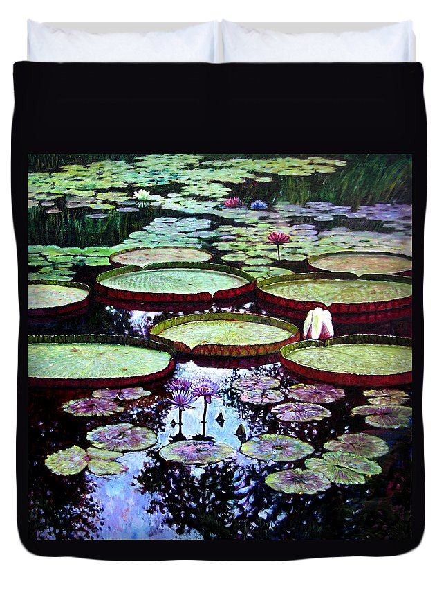 Garden Duvet Cover featuring the painting The Beauty of Stillness by John Lautermilch