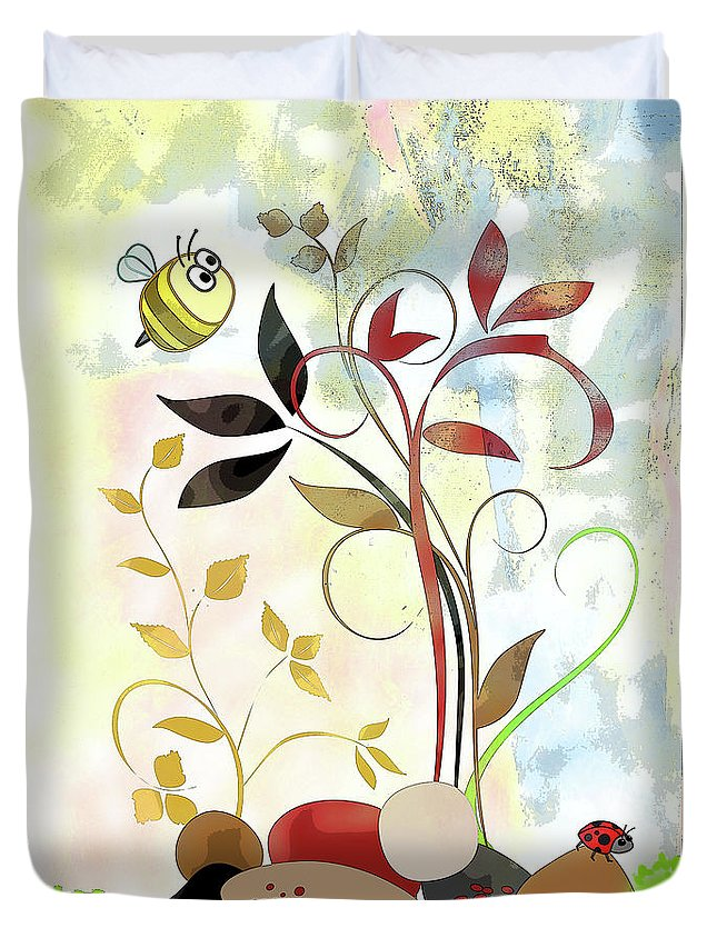 Bee Duvet Cover featuring the mixed media The Bee And The Ladybug by Ruth Palmer
