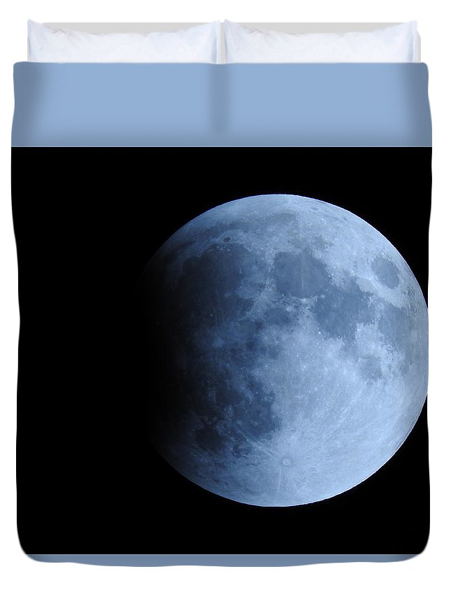 Eclipse Duvet Cover featuring the photograph The Beginning Of An Eclipse by Julianne Pereira