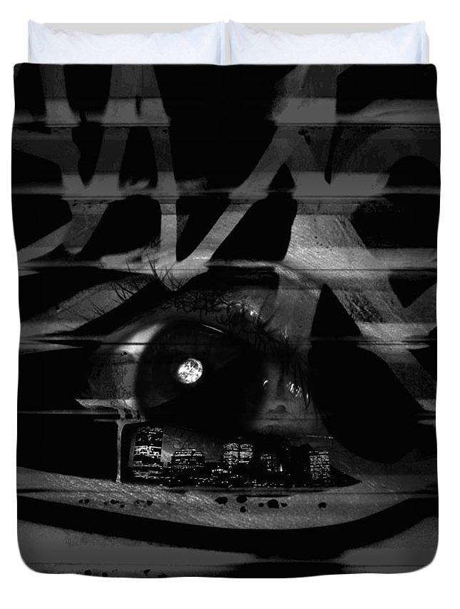 Abstract Duvet Cover featuring the digital art The Beholder by Ken Walker