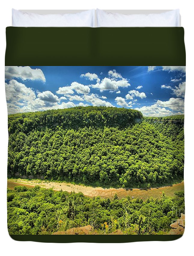 Letchworth State Park Duvet Cover featuring the photograph The Big Bend by Adam Jewell