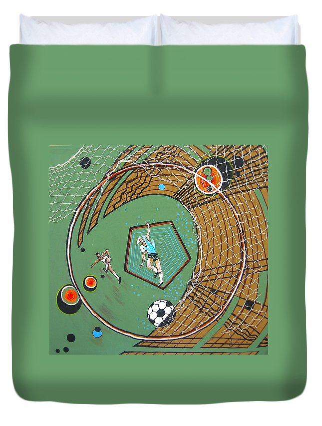Abstract Sports Duvet Cover featuring the painting The Big Kick by V Boge