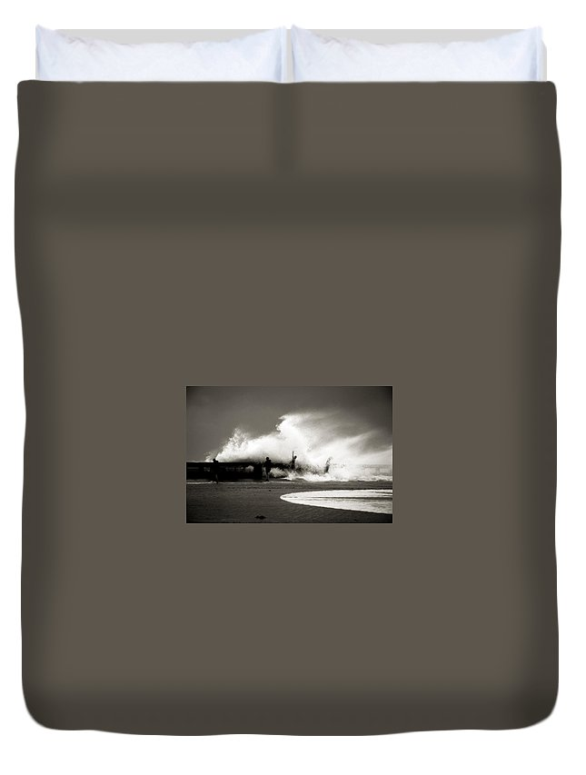 Surge Duvet Cover featuring the photograph The Big Surge by Susanne Van Hulst