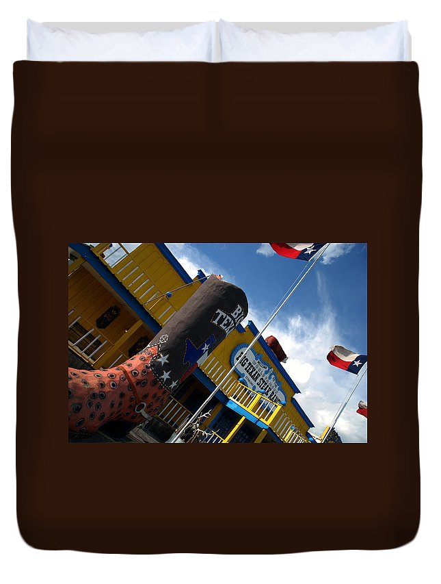 The Big Texan Duvet Cover featuring the photograph The Big Texan II by Susanne Van Hulst