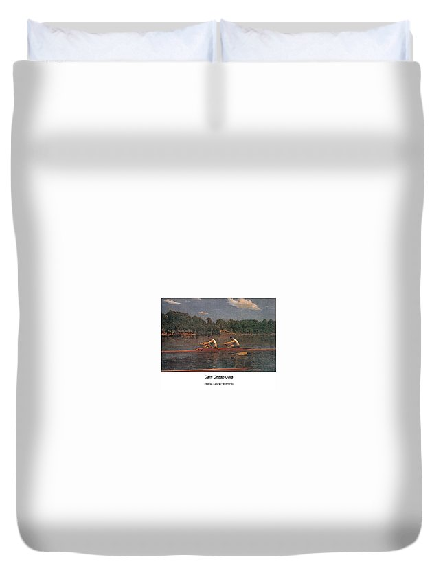 Altered Art Duvet Cover featuring the digital art The Biglin Brothers Racing by John Saunders