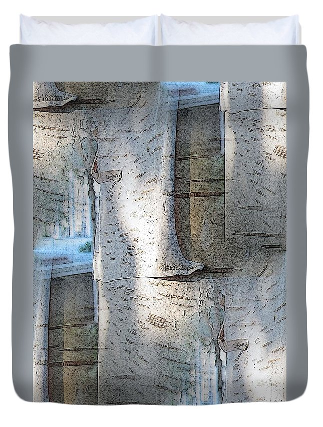 Birch Duvet Cover featuring the digital art The Birch by Tim Allen