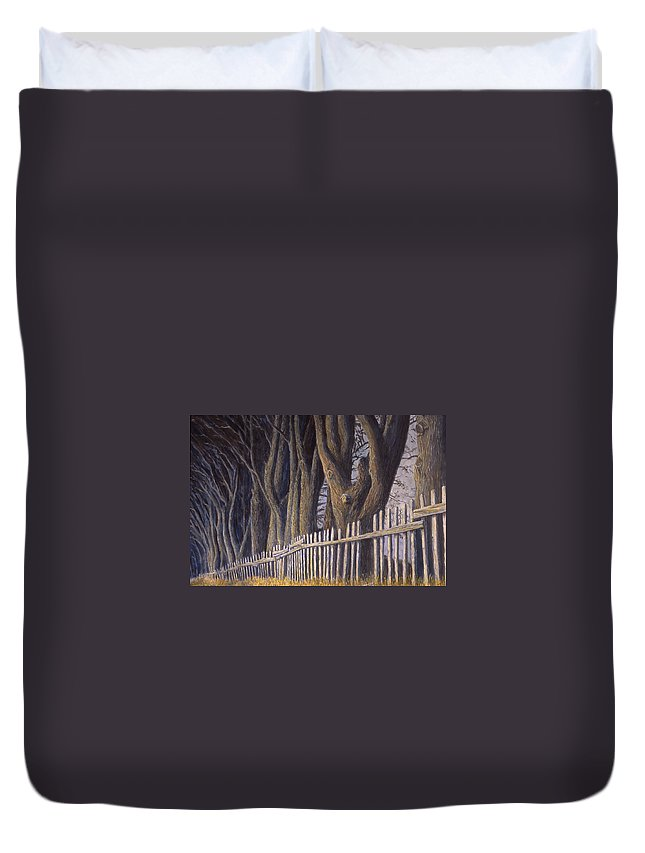Bird House Duvet Cover featuring the painting The Bird House by Jerry McElroy