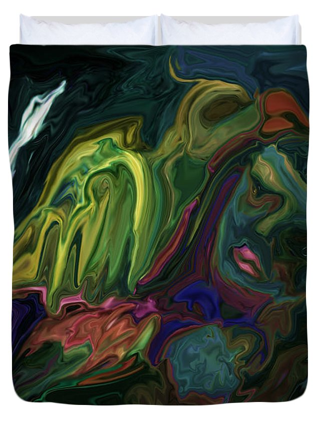 Abstract Duvet Cover featuring the digital art The Bird Man by Rabi Khan