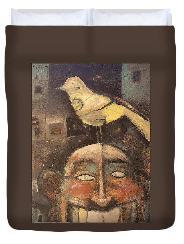 Bird Duvet Cover featuring the painting The Birdman Of Alcatraz by Tim Nyberg