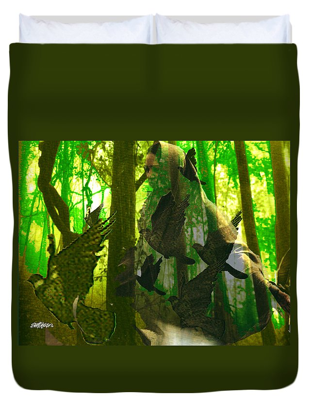 Birdwoman Duvet Cover featuring the digital art The Birdwoman by Seth Weaver