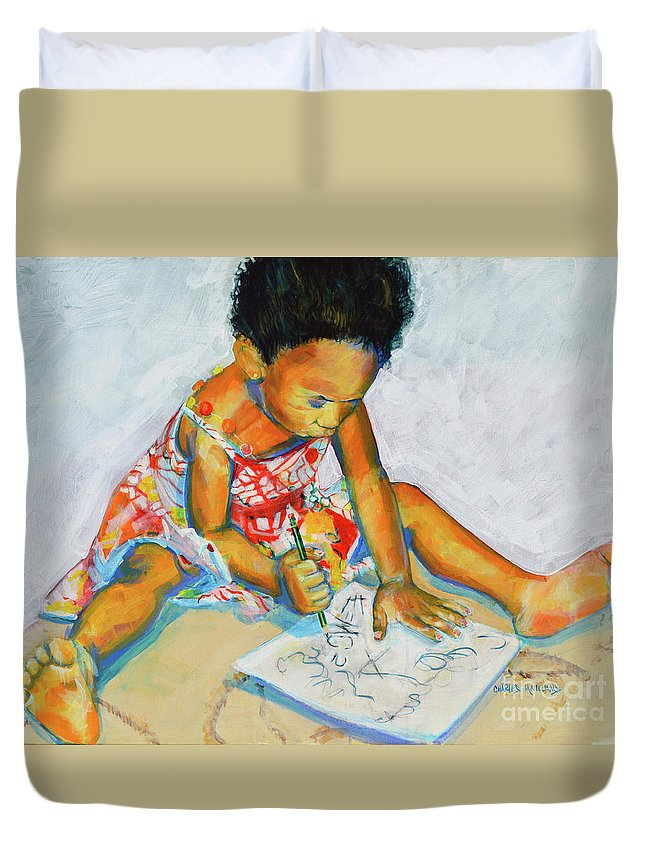Girl Duvet Cover featuring the painting The Birth Of Genius by Charles M Williams