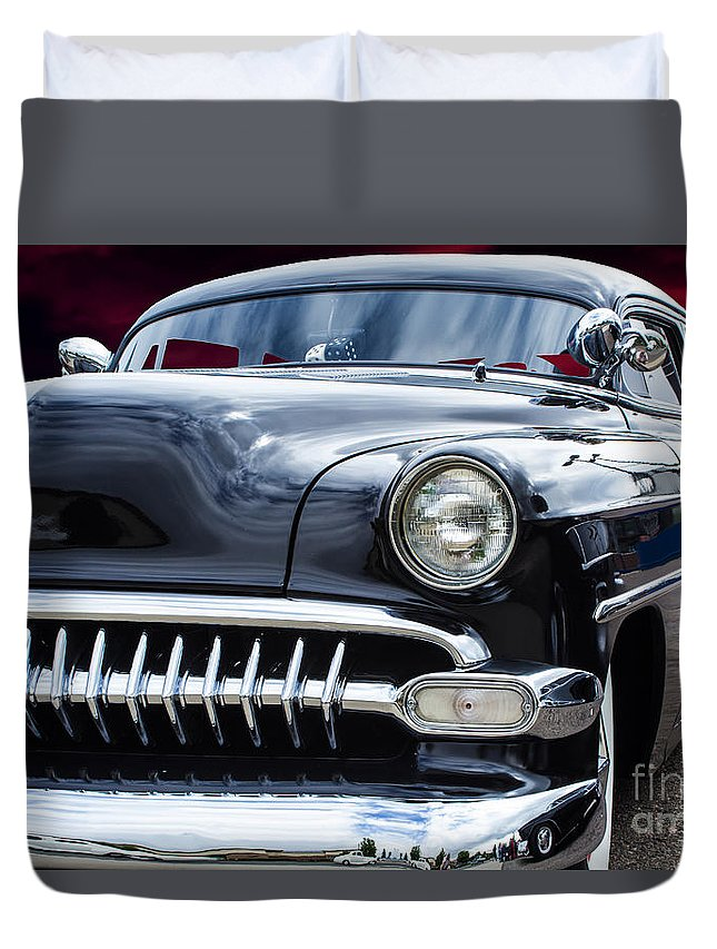 1954 Duvet Cover featuring the photograph The Black 54 by Steven Parker
