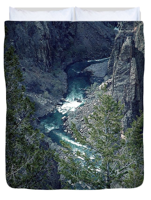 Canyon Duvet Cover featuring the painting The Black Canyon Of The Gunnison by RC DeWinter