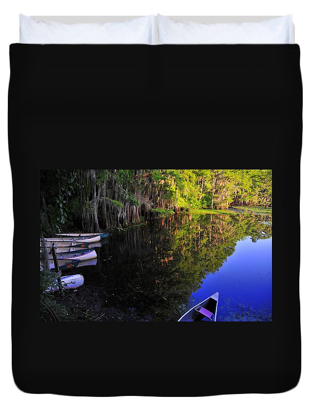 Skip Hunt Duvet Cover featuring the photograph The Black Lagoon by Skip Hunt