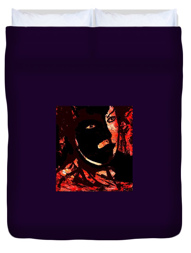 Mask Duvet Cover featuring the painting The Black Mask by Natalie Holland