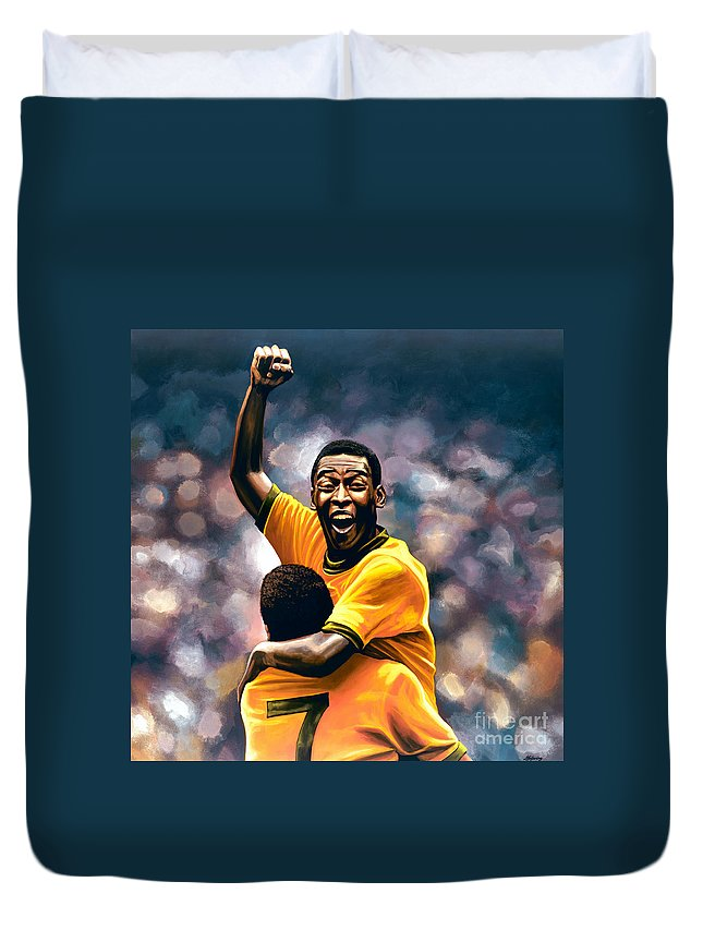 Pele Duvet Cover featuring the painting The Black Pearl Pele by Paul Meijering