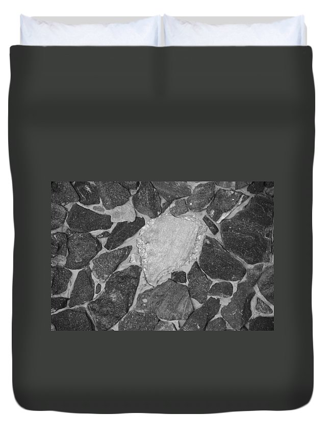 Black And White Duvet Cover featuring the photograph The Black Wall by Rob Hans